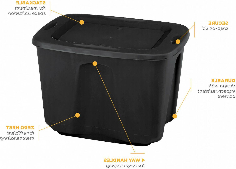 8 Tote 18 Gallon Stackable Bin Container Black