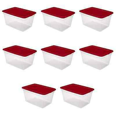 8 Pack Box Clear Plastic Container 58 Qt