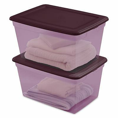 8 Box Clear Container with Lids 58 Qt