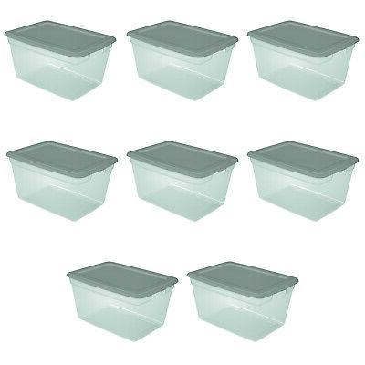 8 Pack Storage Bins Box Clear Organizer Container Lids Qt