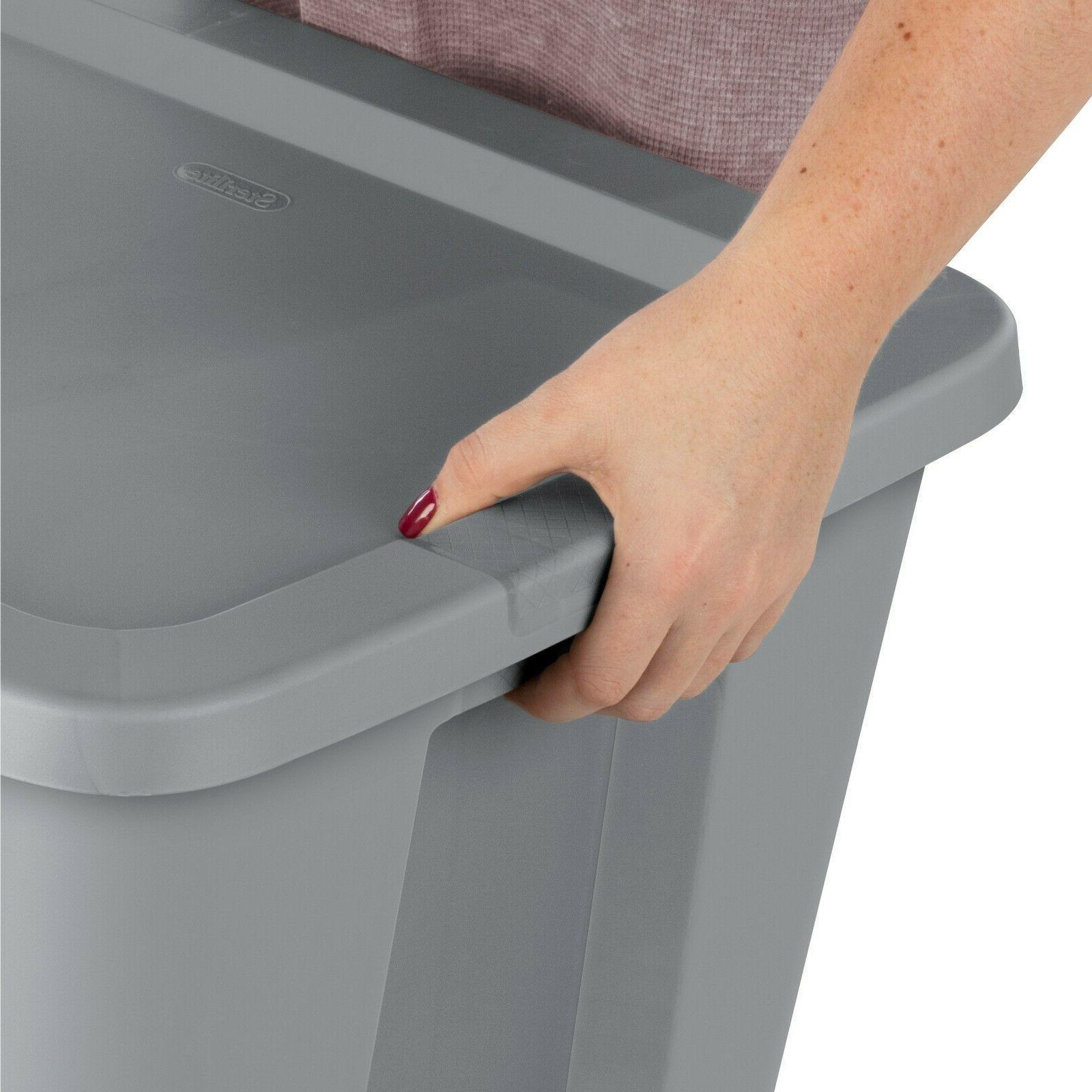 8 pk Container Box Set Bin 18-Gallon Stackable Tote Plastic