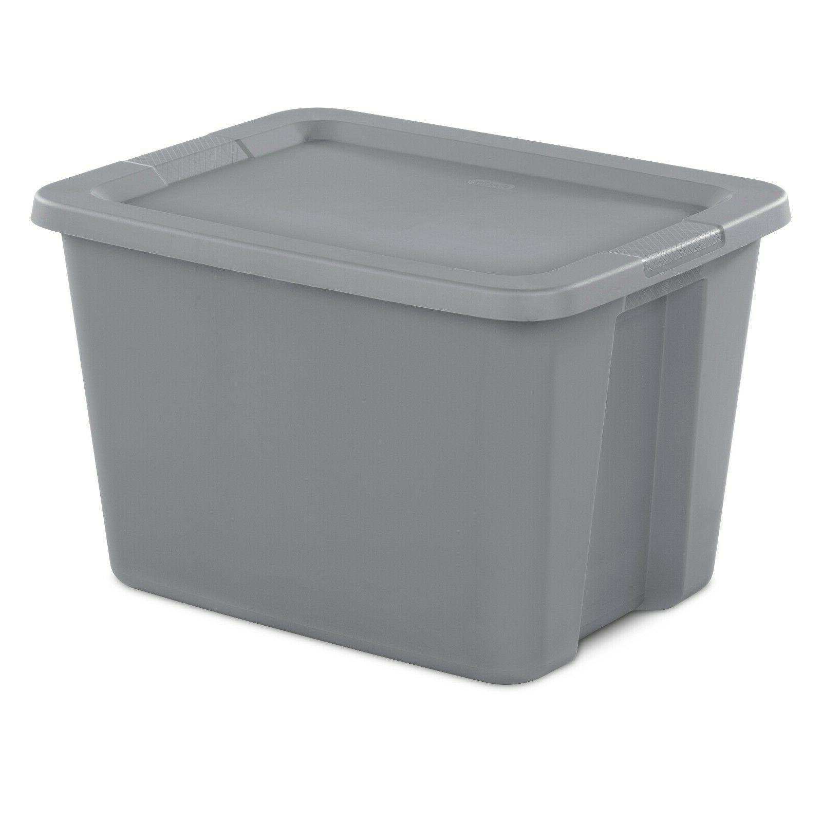 8 pk Plastic Container Box Set Bin 18-Gallon Stackable Plastic Kids