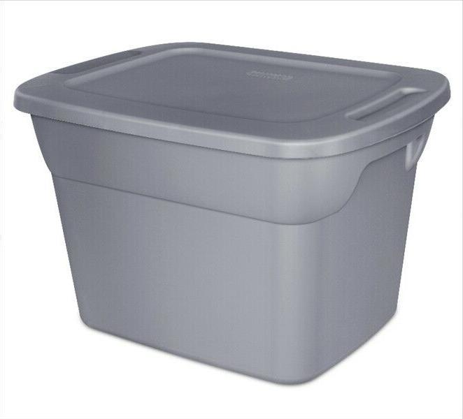 8 Plastic Storage Box Sterilite Set 18-Gallon Stackable Tote Bin