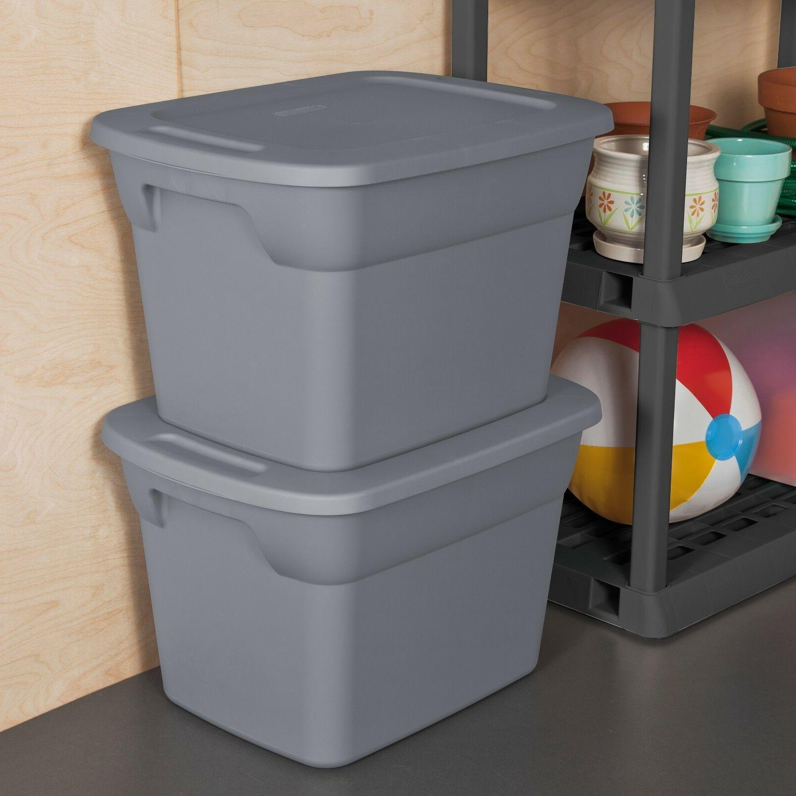 8 PLASTIC 18 Gallon Sterilite Tote Box Bin With Lid