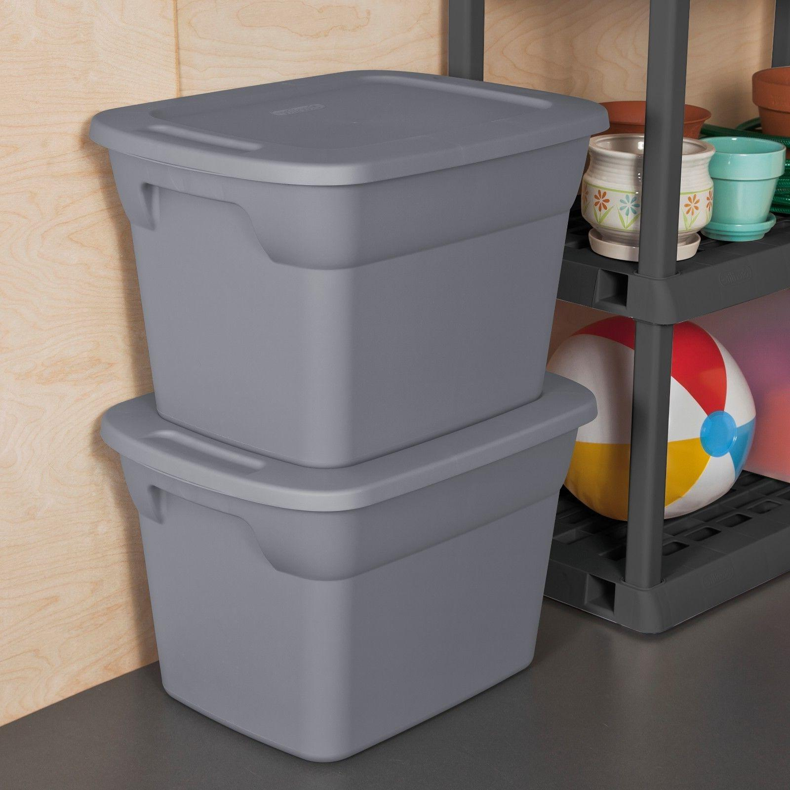 8 plastic storage containers 18 gallon stackable