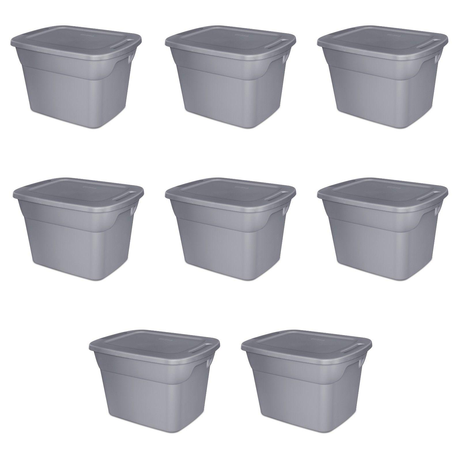 8 STORAGE CONTAINERS 18 Sterilite Tote Box Bin Lid