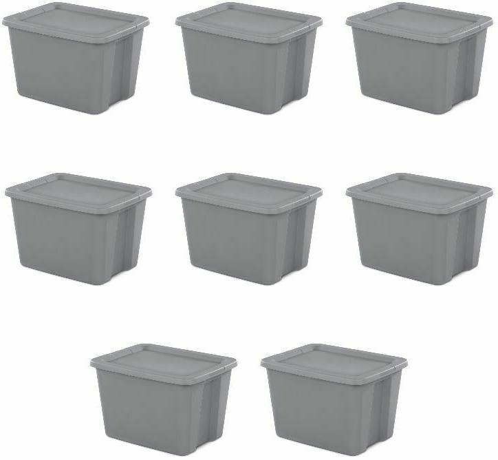 8 plastic storage containers tote box