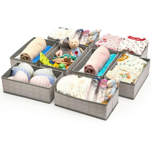 8pc Drawer Closet Dresser Storage Foldable Fabric Boxes