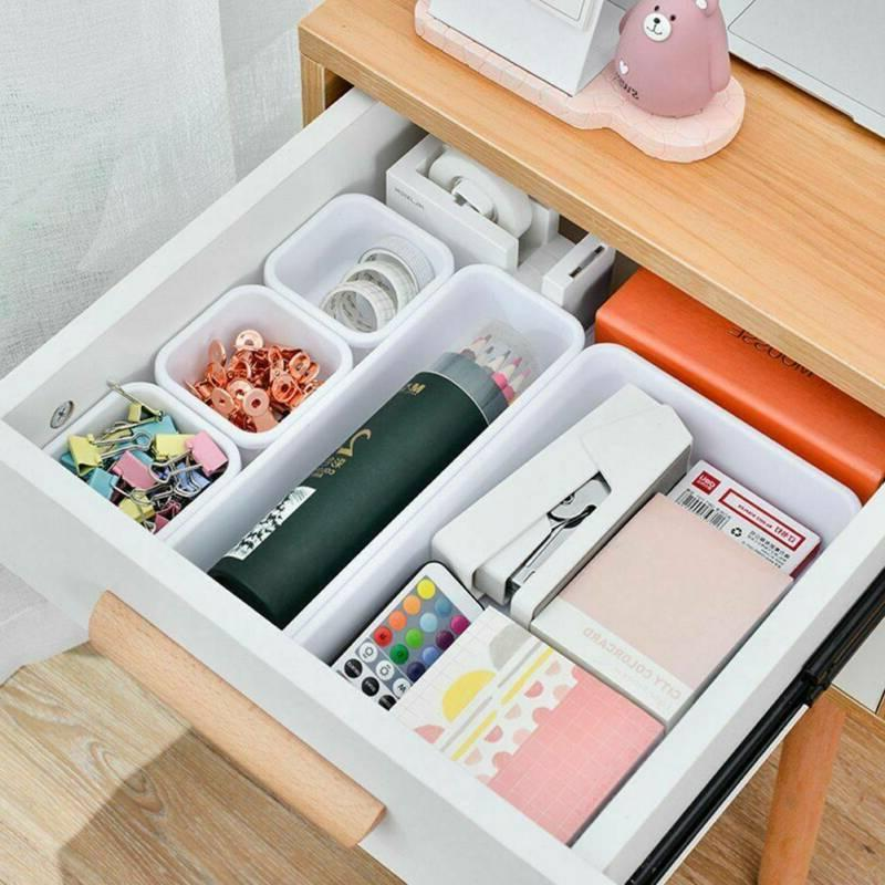 8Pcs Desk Organization Tray Organizer Trays Home Storage Boxes