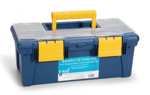 Darice 16-Inch Art Box with Organizer, Petroleum Blue