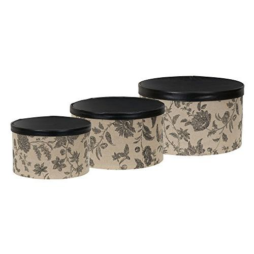 Household Essentials Box with Faux Leather Lids,