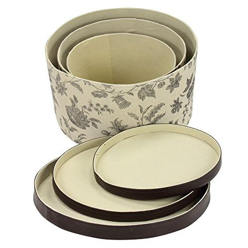 Household Box Set Faux Leather Lids, Floral Pattern