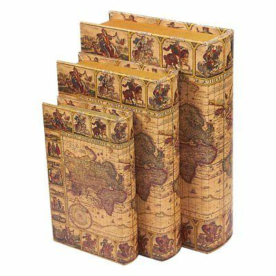 Juvale 3 Piece Book Box Set - Decorative Book Storage Box Mo