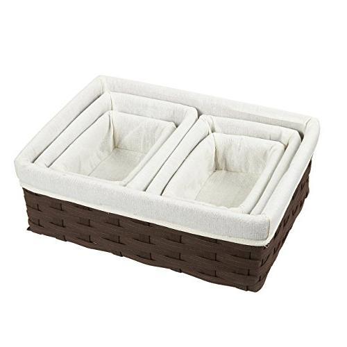 Juvale - 5-Piece Chocolate Brown Organizing Baskets, Dark Baskets for Bathroom Bedroom - 2 Small, Medium, Large