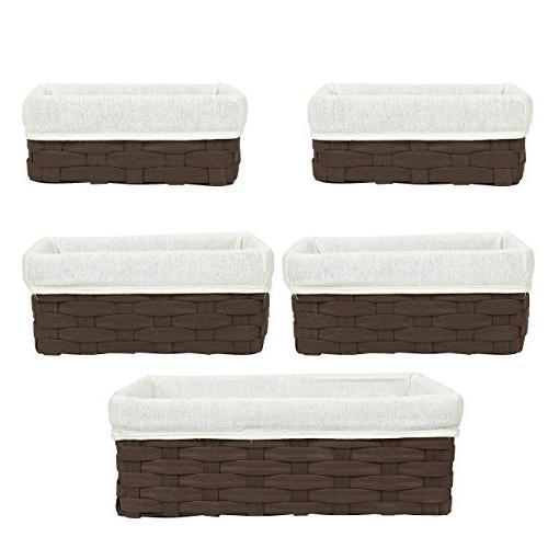Juvale 5-Piece Utility Baskets, Chocolate Organizing Baskets, Dark Baskets for Bathroom - 2 Small, Medium, Large