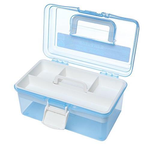 "MyGift 10"" Blue Multipurpose Handled Organizer Storage w/Removable Tray"