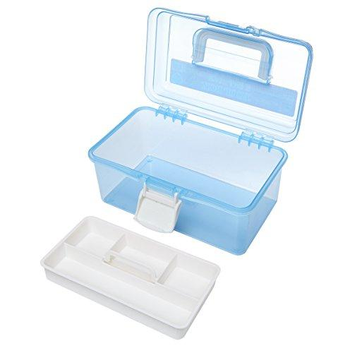 MyGift Clear Light Blue Plastic Multipurpose Portable Handled Organizer Storage w/Removable Tray