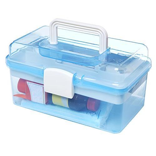 MyGift Clear Blue Handled Organizer Box/Case w/Removable Tray