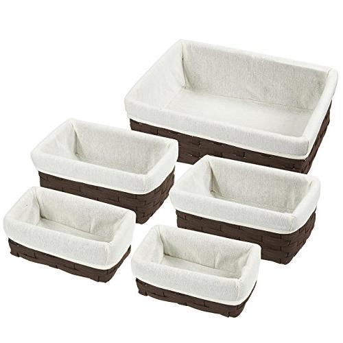 Juvale Nesting 5-Piece Chocolate Organizing Baskets, Baskets Shelves Bathroom - 2 Small, 2 Medium, Large