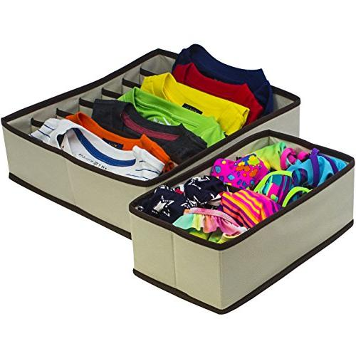 Sorbus Set 4 Foldable Drawer Boxes, Closet Organizers, Under Bed