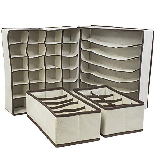 Sorbus Set of 4 Foldable Boxes, Closet Organizers, Under Bed Organizer