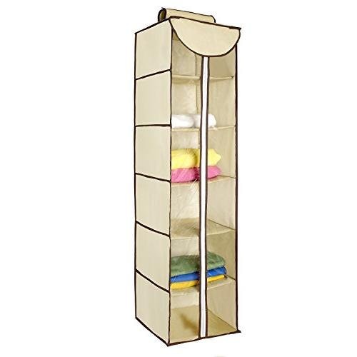 Ziz Home Hanging Clothes Storage Box  Durable Accessory Shel