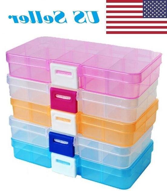 adjustable 10 compartment plastic storage box case