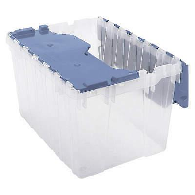 AKRO-MILS Attached Lid Container,Clear/Blue, 66486FILEB, Cle