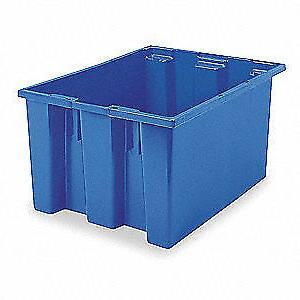 AKRO-MILS Nest and Stack Container,23-1/2 in,Blue, 35230BLUE