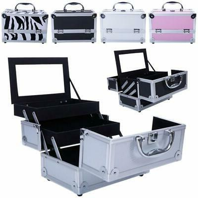 Aluminum Makeup Train Jewelry Storage Box Cosmetic Button Lo