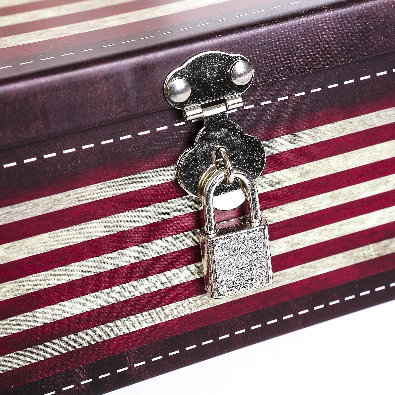 American Flag Box Padlock, Metal Organizer Case