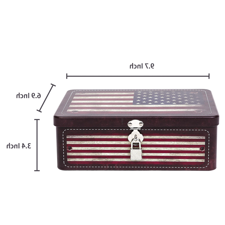 American Flag Storage Box with Decorative Metal Organizer