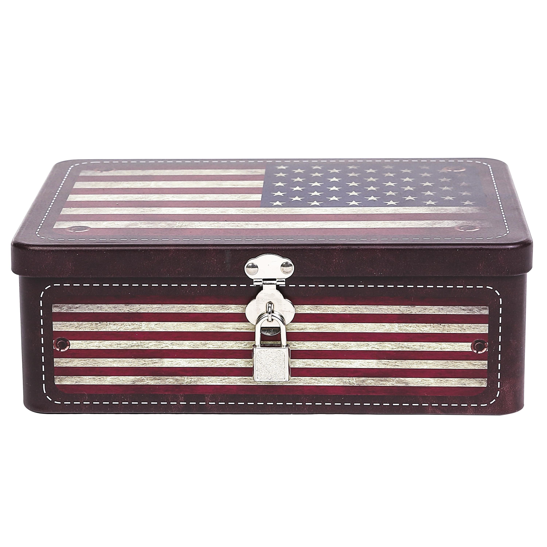 American Tin Storage Box with Padlock, Metal