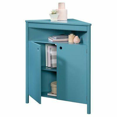 Sauder Anda Corner Storage Cabinet Blue