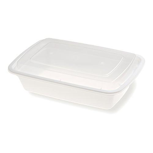 Asporto Microwavable - BPA Rectangular Food Container with Lid & Takeout - 28 oz - White - Box