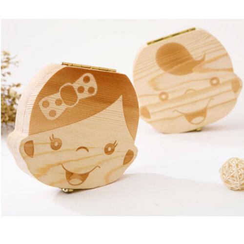 Wood Box Teeth Storage Baby Kids Milk Tooth Fairy Organizer