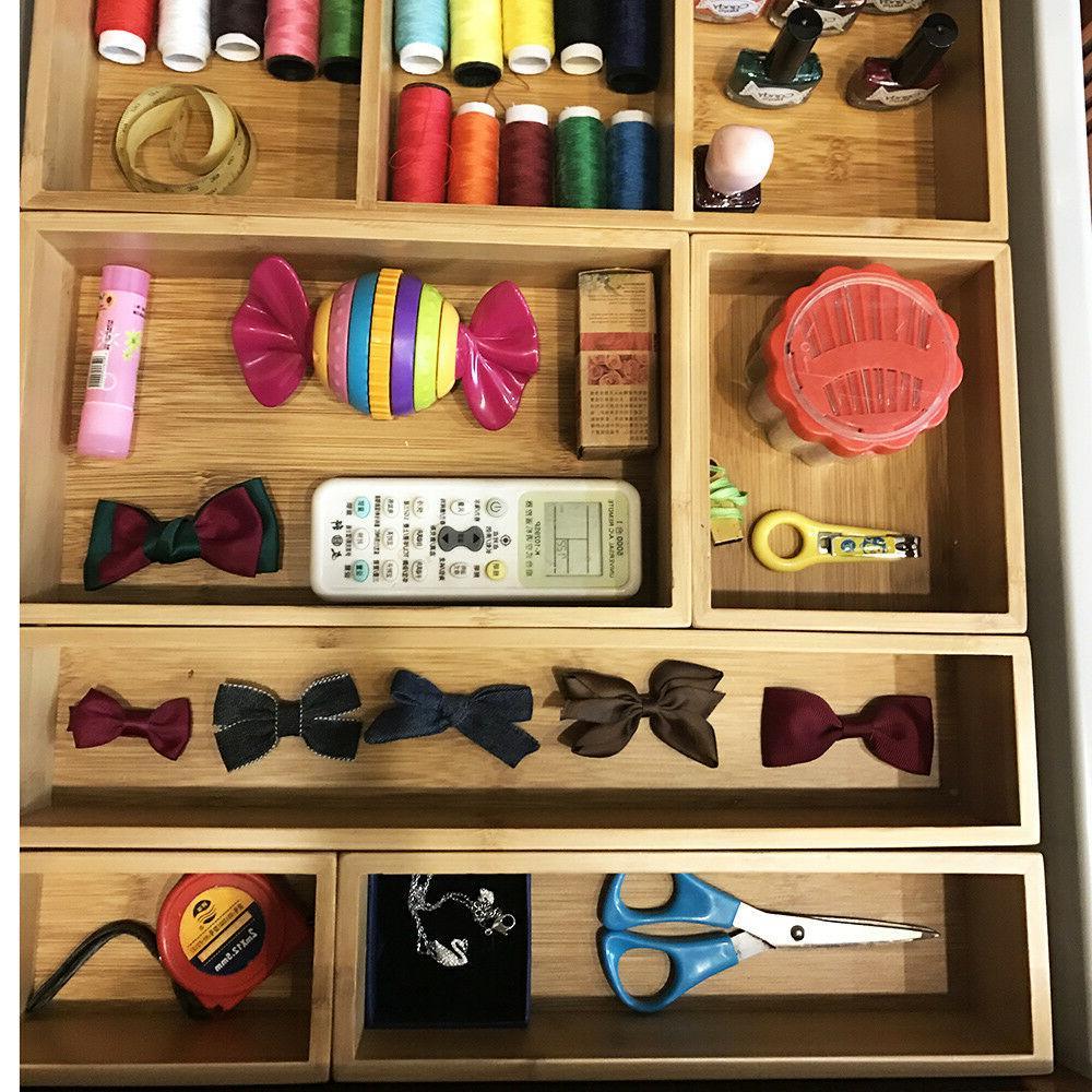 Bamboo Drawer Organizer and Storage set Craft,Sewing,