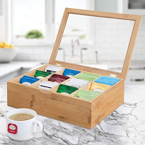 mDesign Bamboo Organizer Box - Divided Hinged Lid with Window Top Holder Packets, Accessories Natural