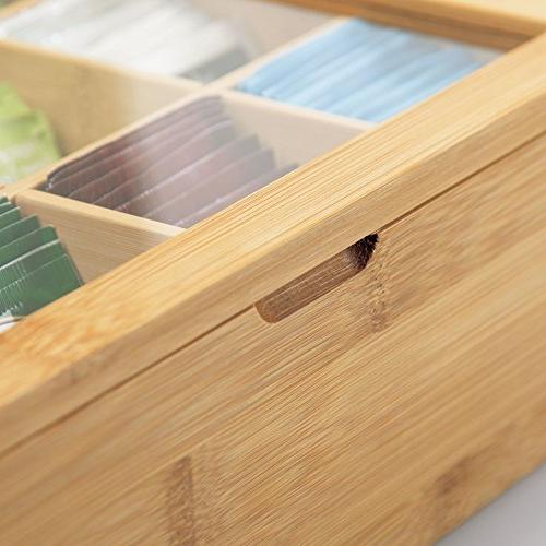 mDesign Bamboo Organizer - Divided Hinged Lid with View Window Holder Packets, Items Accessories - Natural Bamboo/Clear
