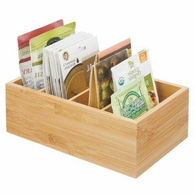 mDesign Bamboo Wood Food Storage Organizer - Natural