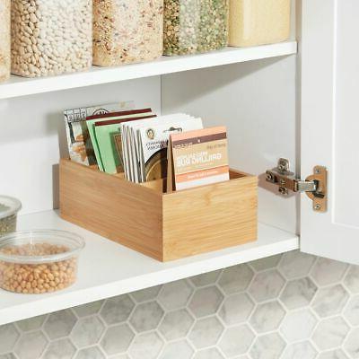 mDesign Storage Organizer Bin Box - Divided Sections, Natural