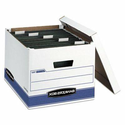 Bankers Storage Box, Legal/Letter, Lift-off Lid, White/Blue,