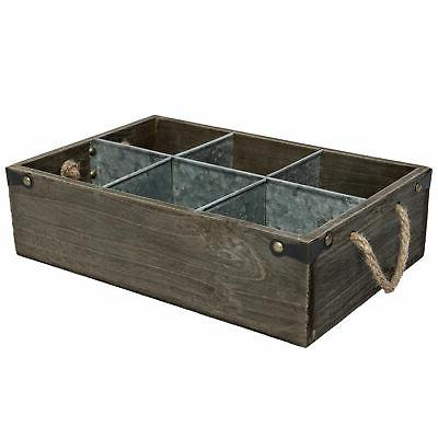Barnwood Decorative Storage Organizer Caddy Dividers Handle