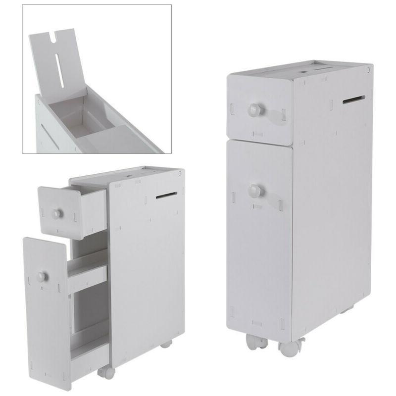 Bathroom Floor Toilet Bath Drawer Shelf White Wood