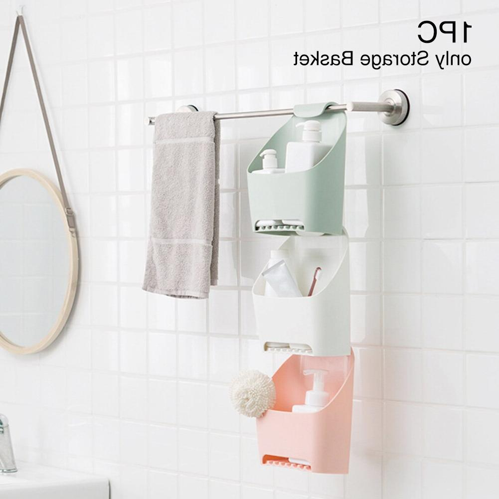 Bathroom Organizer Holder <font><b>Box</b></font> Punch Free Hanging <font><b>Basket</b></font> Removable Durable