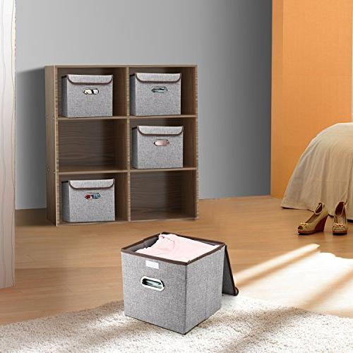 MEÉLIFE Storage 4-Pack Storage Fabric Containers Lid & Office Nursery Shelf