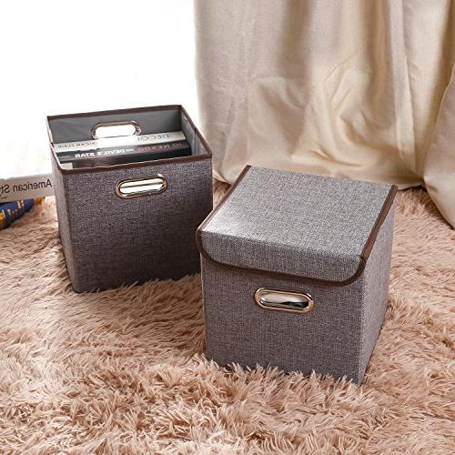 MEÉLIFE 4-Pack Fabric Foldable Organizer Containers with Lid & Nursery Bedroom Shelf Gray