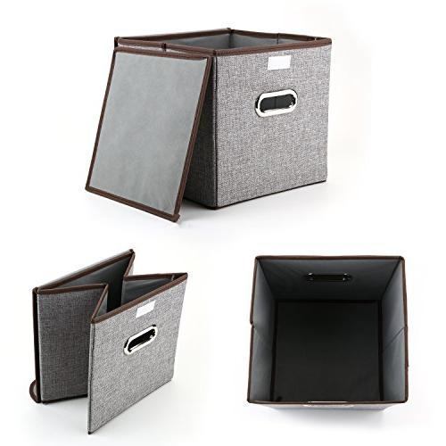 MEÉLIFE Storage Bins Storage Boxes Linen Fabric Containers Drawers & Nursery Bedroom