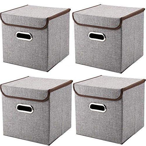 bins linen fabric foldable basket