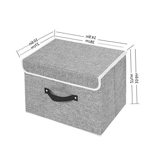 Storage of Two Foldable Storage Box with Lids and Storage Basket Storage Containers With Cotton Removable Dividers